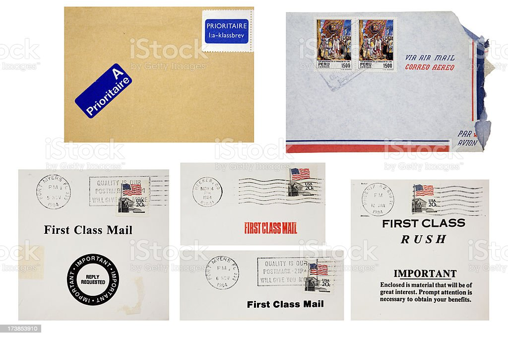 Postmarks and Cancellations stock photo