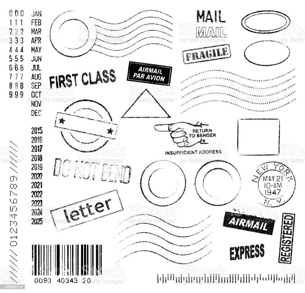 Postmarks and Stamps Collection stock photo