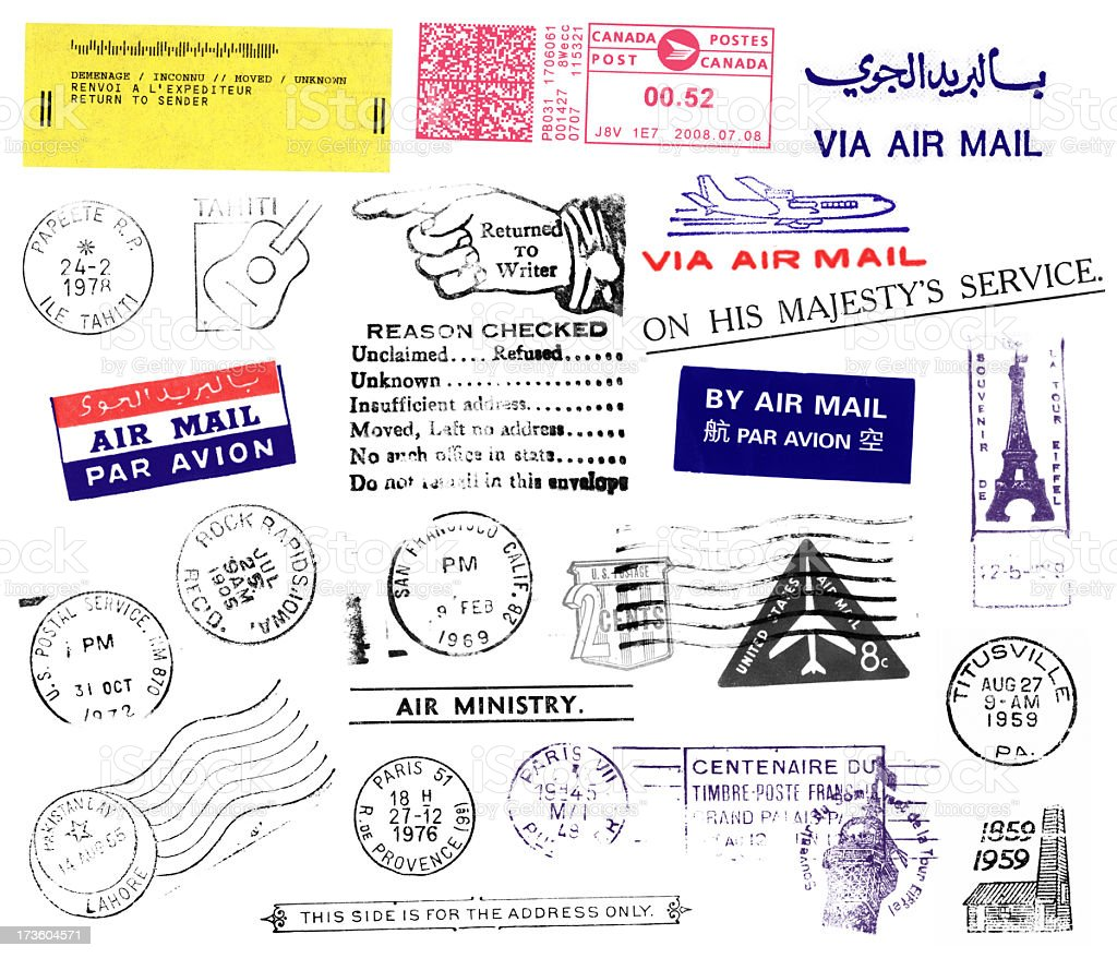 Postmarks and Stamps stock photo
