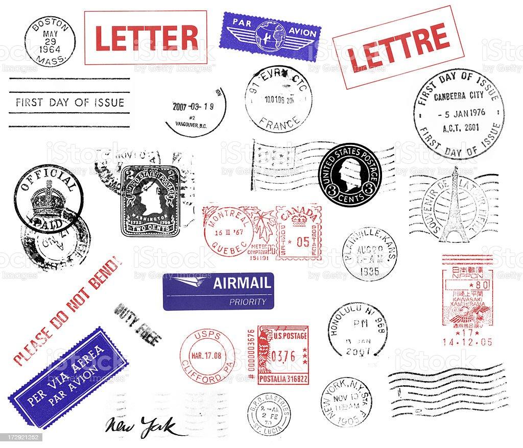 Postmarks stock photo