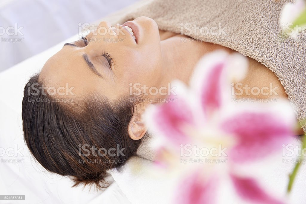 Post-massage bliss stock photo
