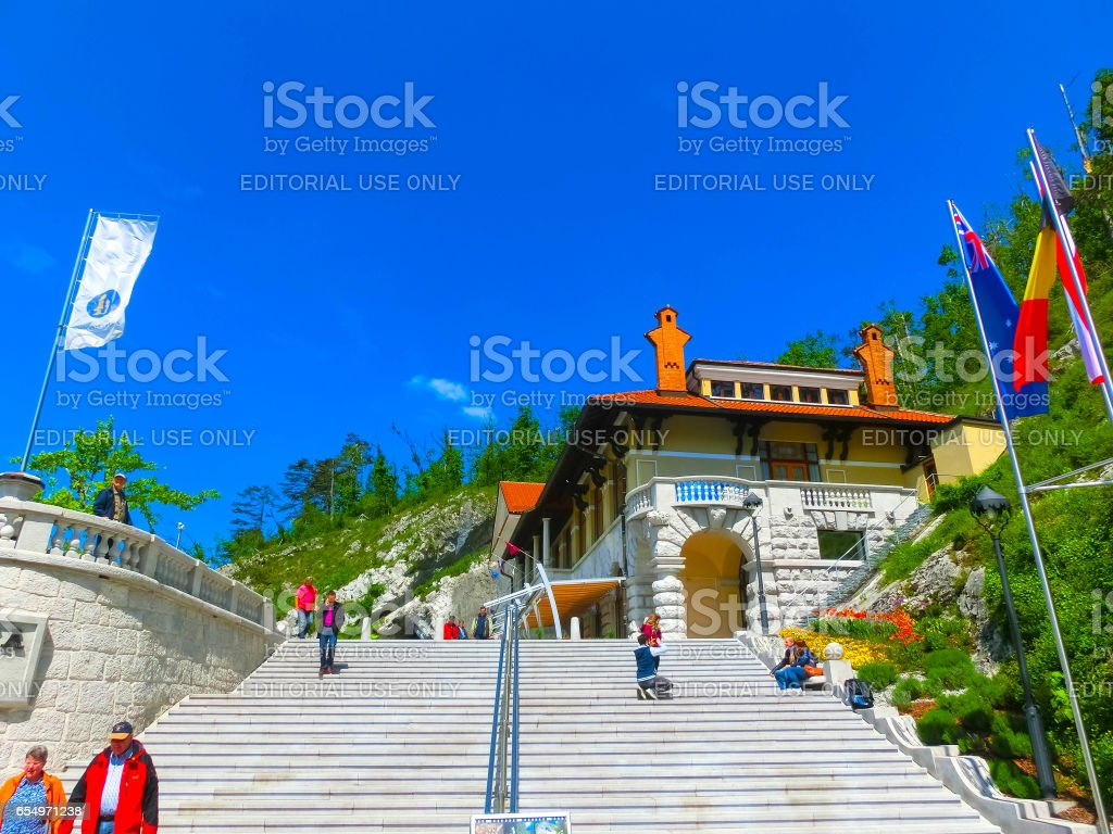 Postojna, Slovenia - May 9, 2014: Postojna cave entry stock photo