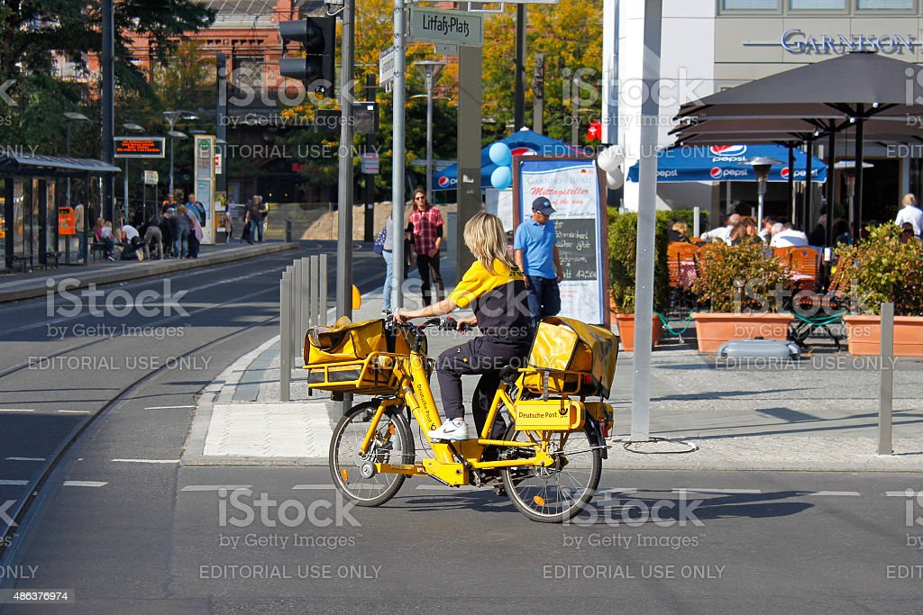 Postwoman deliver mail. stock photo