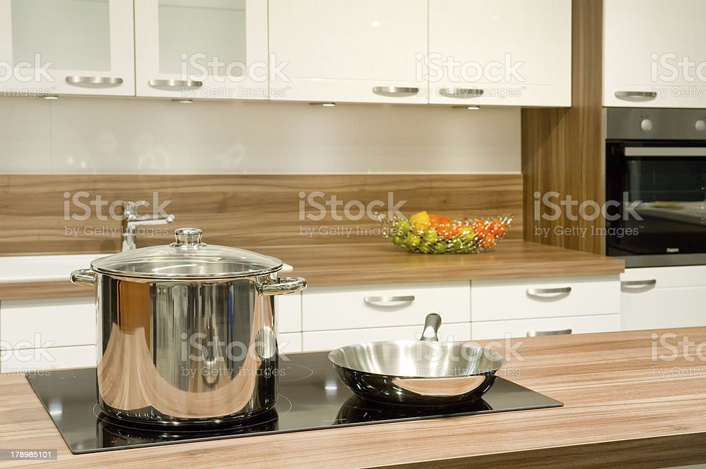 Pot and pan in the kitchen stock photo