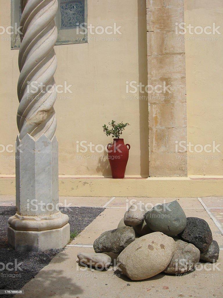 Pot and rocks stock photo