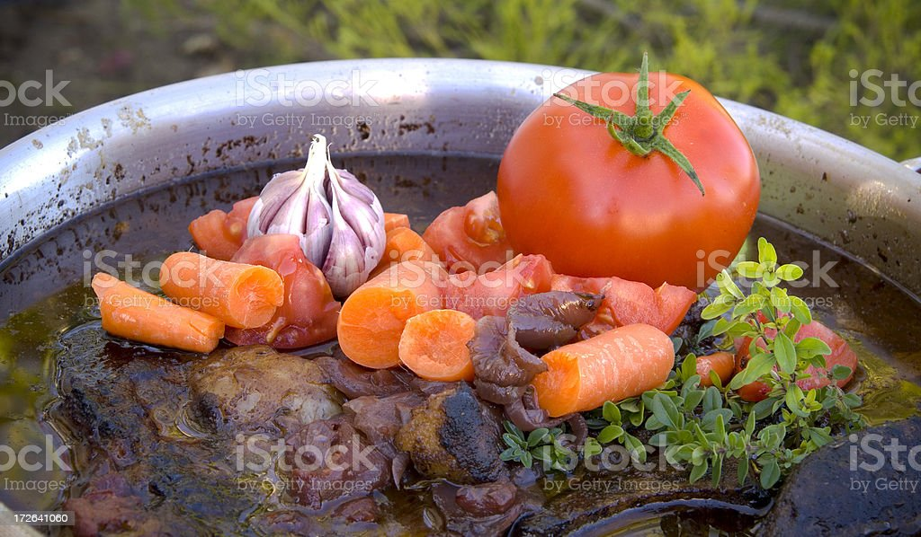Pot Beef Meat Roast, Vegetables Cooking in Soup & Stew Pan royalty-free stock photo