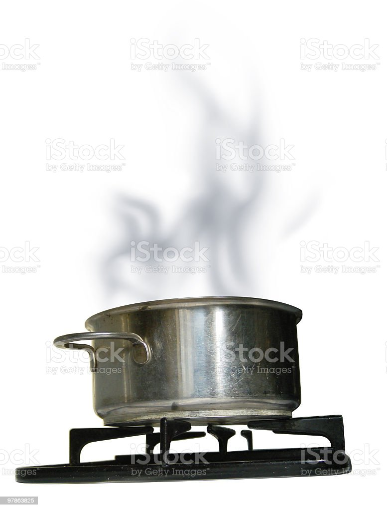A pot boiling on a stove with white background  stock photo