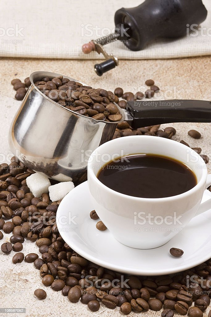 pot, cup and grinder royalty-free stock photo