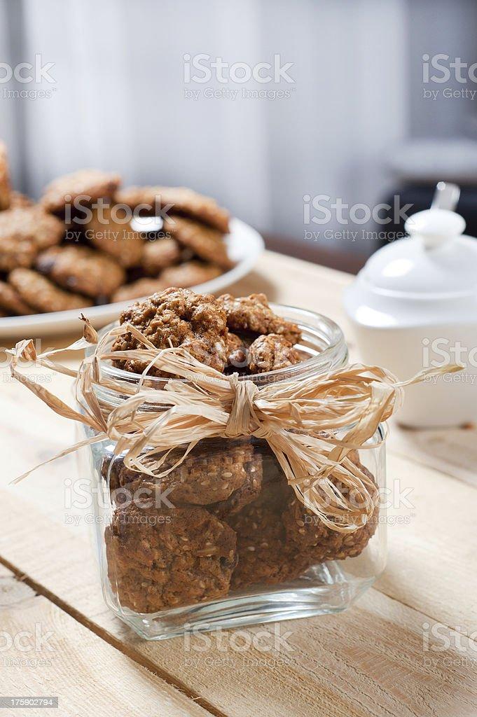 Pot full of healthy muesli cookies royalty-free stock photo