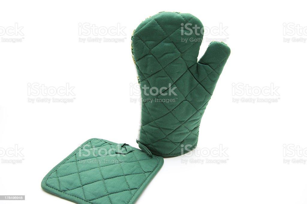 Pot glove and cloth stock photo