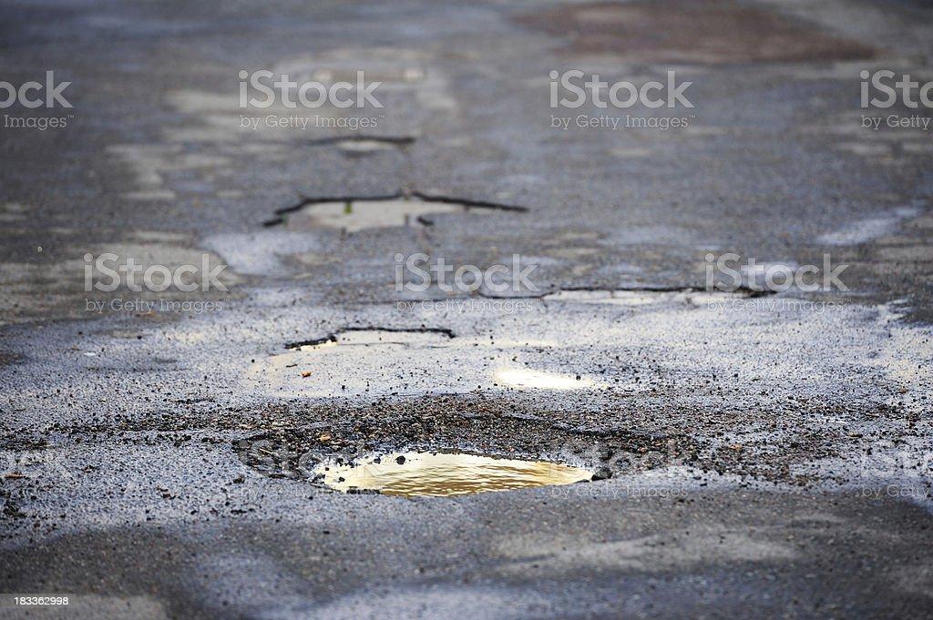 Pot hole on asphalt road royalty-free stock photo