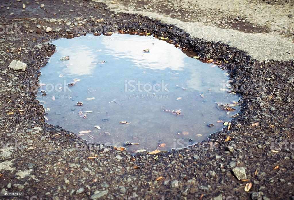 Pot Hole on the Road stock photo