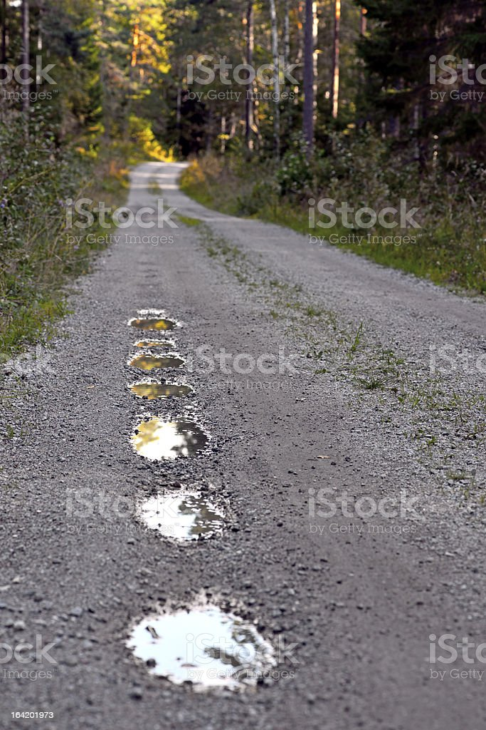 pot holes in dirt road royalty-free stock photo