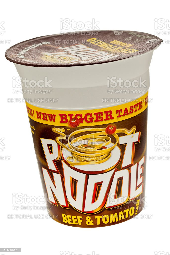 Pot Noodle Beef and Tomato Flavour stock photo