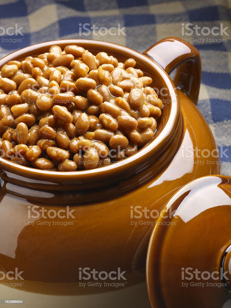Pot of Baked Beans royalty-free stock photo