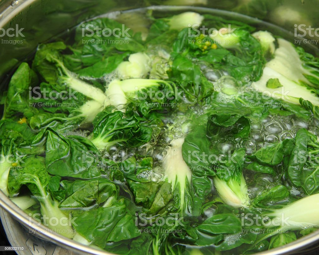 Pot of boiling bok choy stock photo