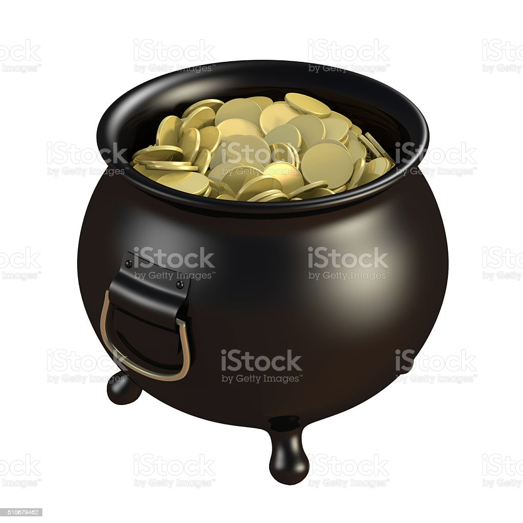 Pot of coins stock photo