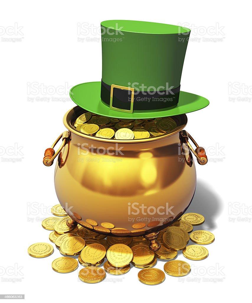 Pot of Gold and green Leprechaun hat stock photo