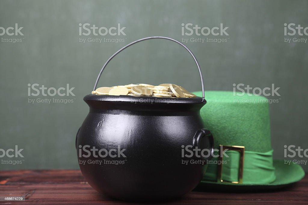 Pot of gold and Leprechaun hat stock photo