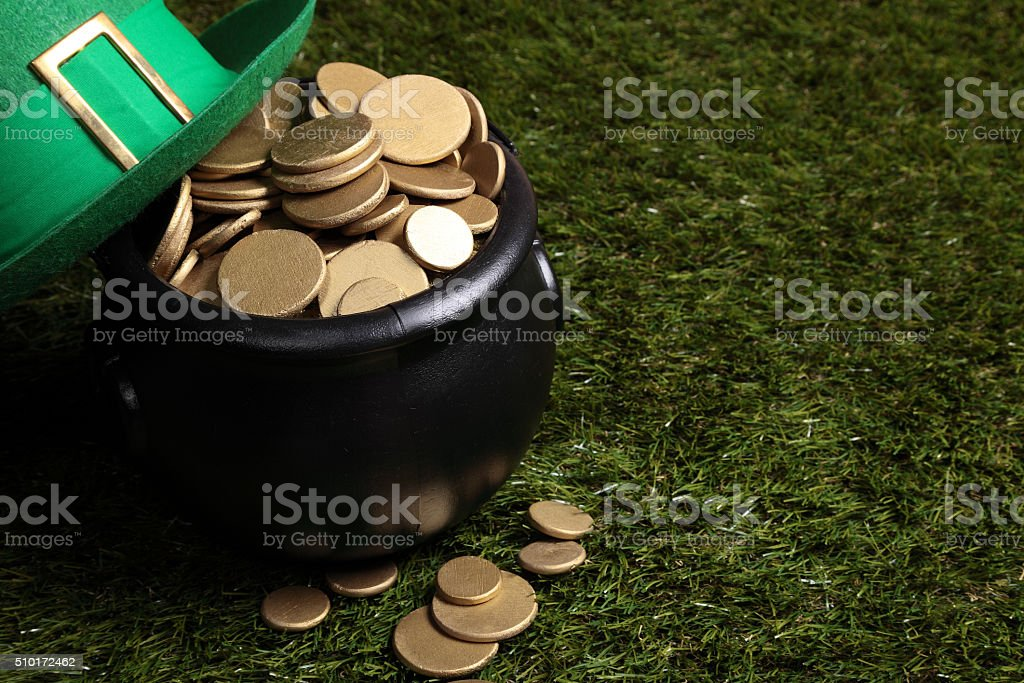 Pot of gold and Leprechaun hat stock photo