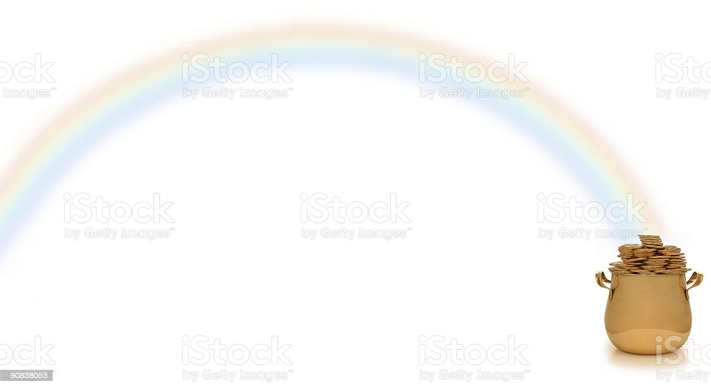 pot of gold and rainbow royalty-free stock photo