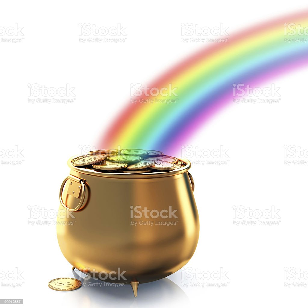 Pot of gold and rainbow stock photo