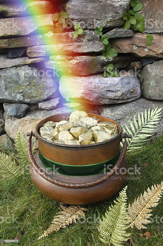 Pot of Gold at Rainbow's End stock photo