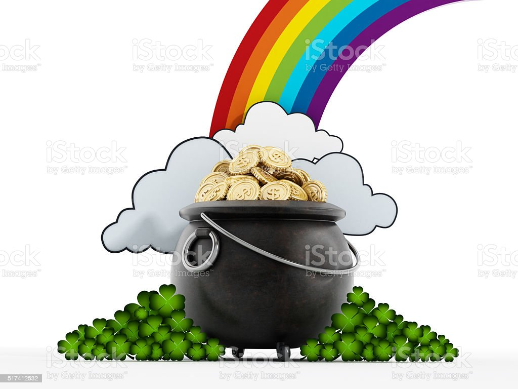Pot of gold at the end of rainbow stock photo
