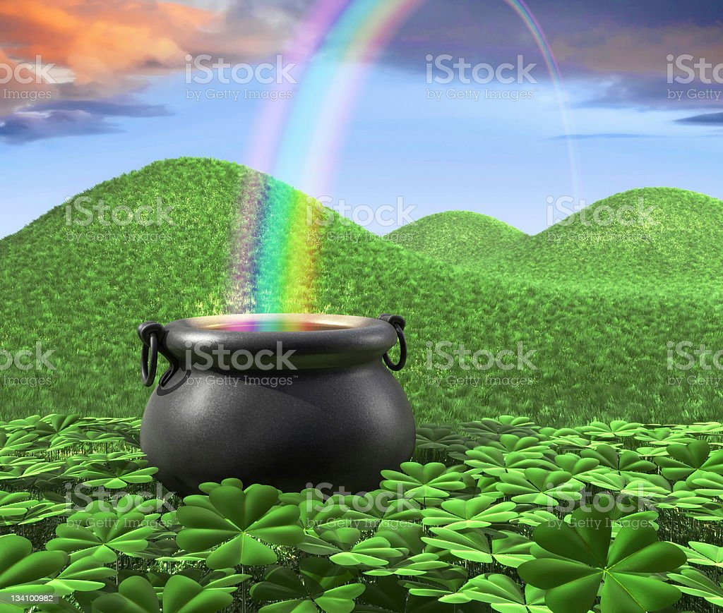 A pot of gold at the end of the rainbow stock photo