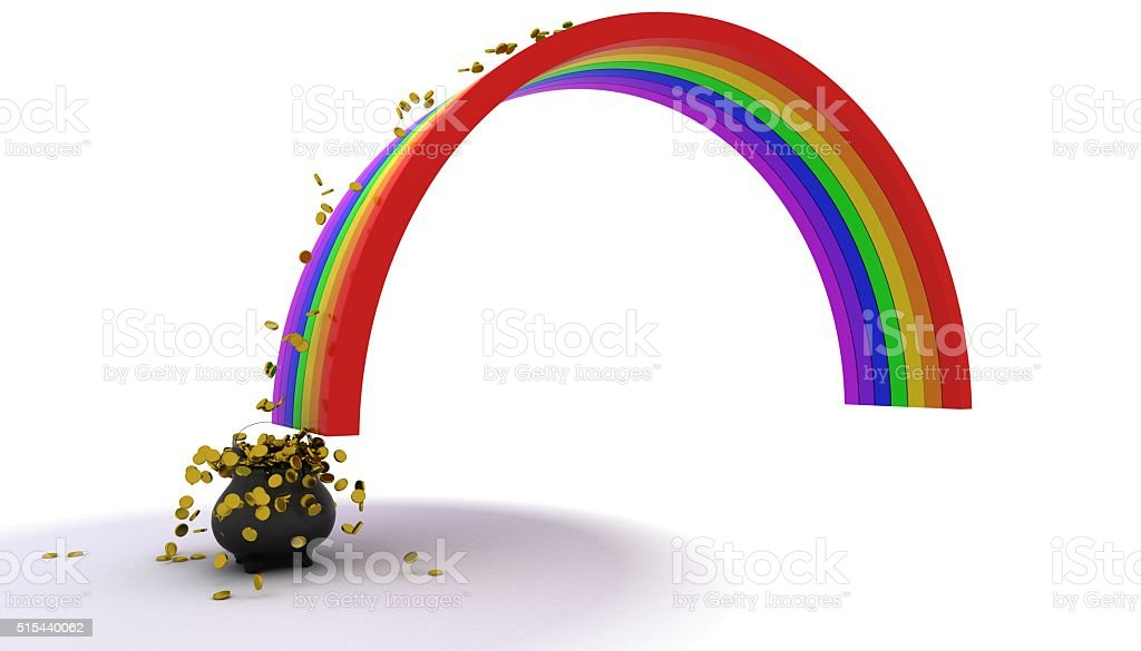 pot of gold at the end of the rainbow stock photo