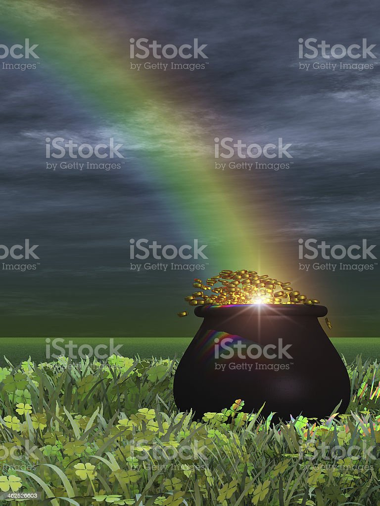 Pot of Gold at the End Rainbow stock photo