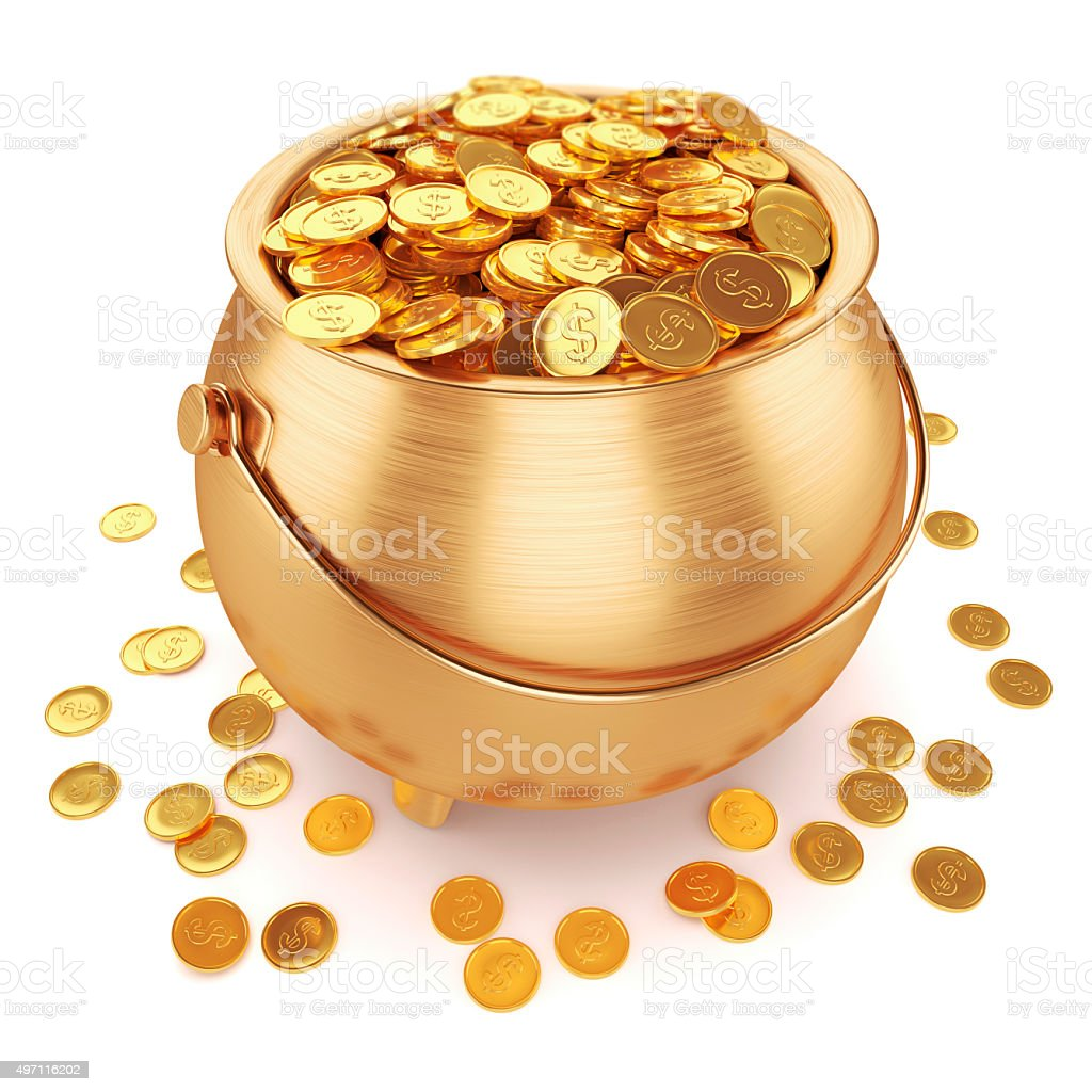 Pot of gold coins stock photo