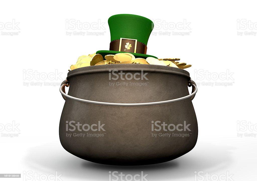 Pot Of Gold With Leprechaun Hat stock photo