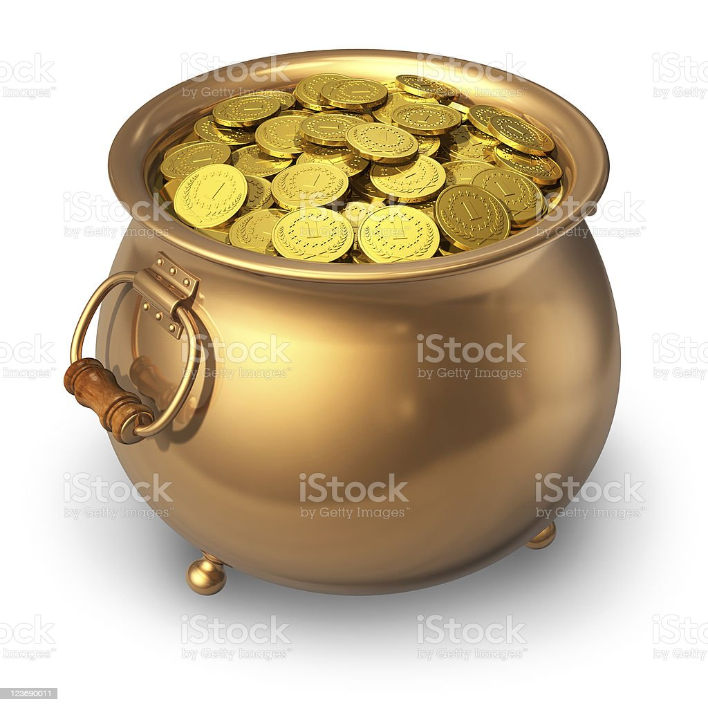 Pot of golden coins royalty-free stock photo
