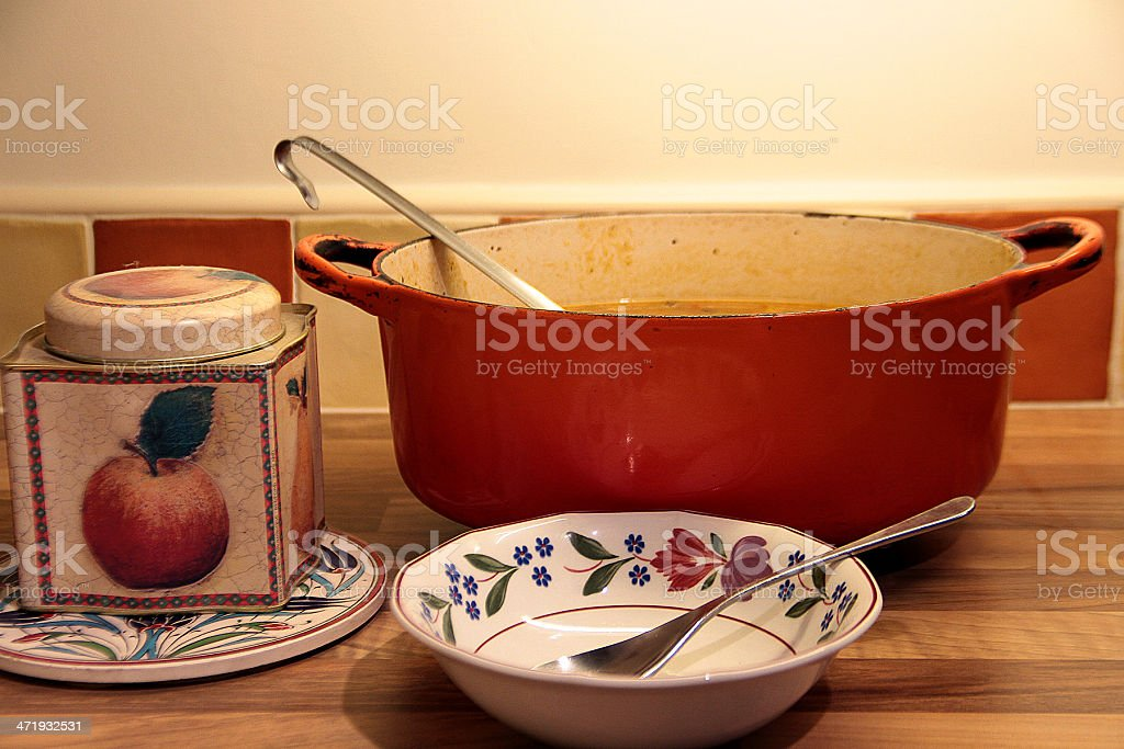 Pot of Soup and Bowl royalty-free stock photo