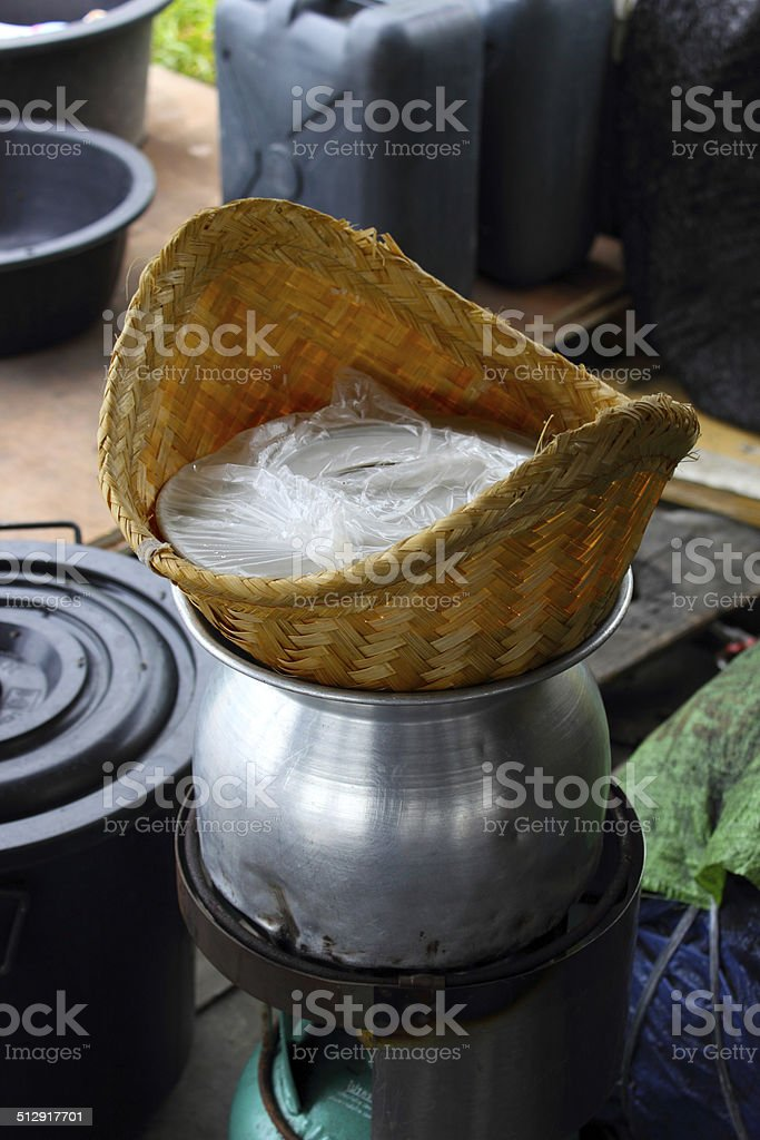Pot of steamed rice. stock photo
