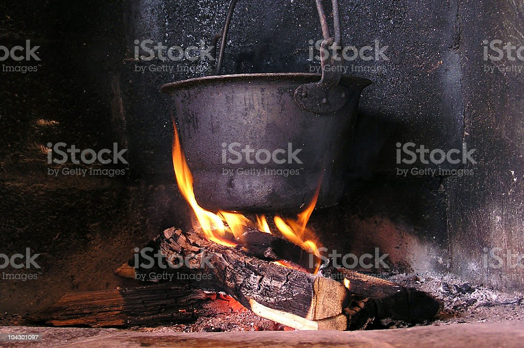 Pot on a fire royalty-free stock photo