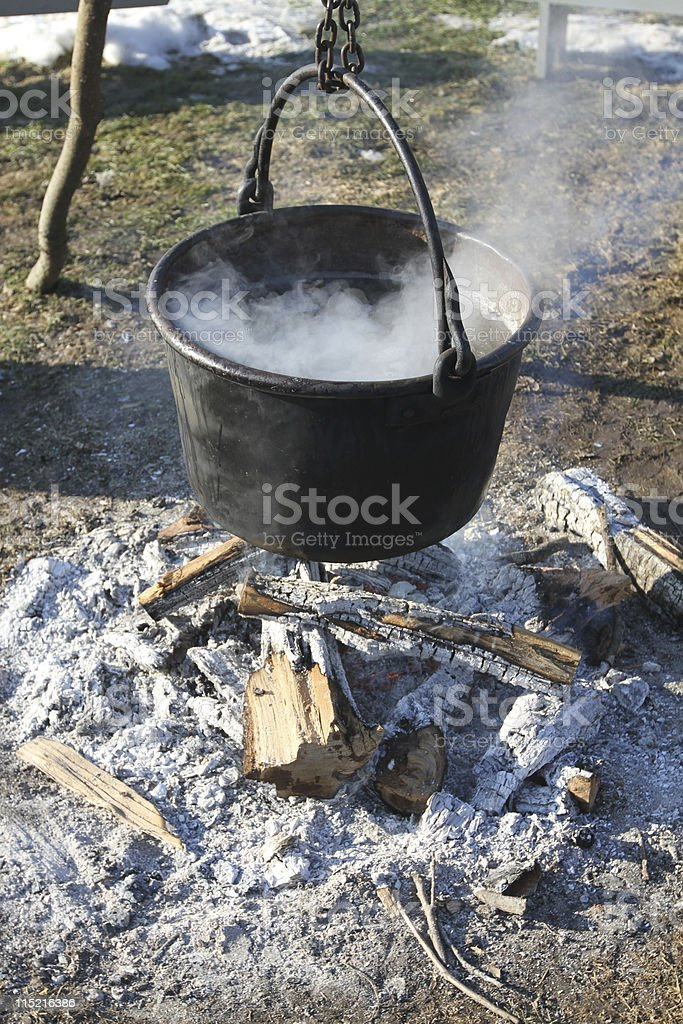 Pot Over Fire royalty-free stock photo