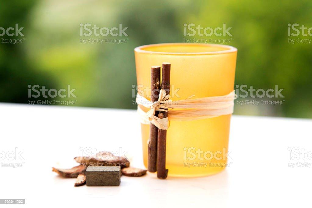pot pourri candle holder, autumn wicca home decoration stock photo
