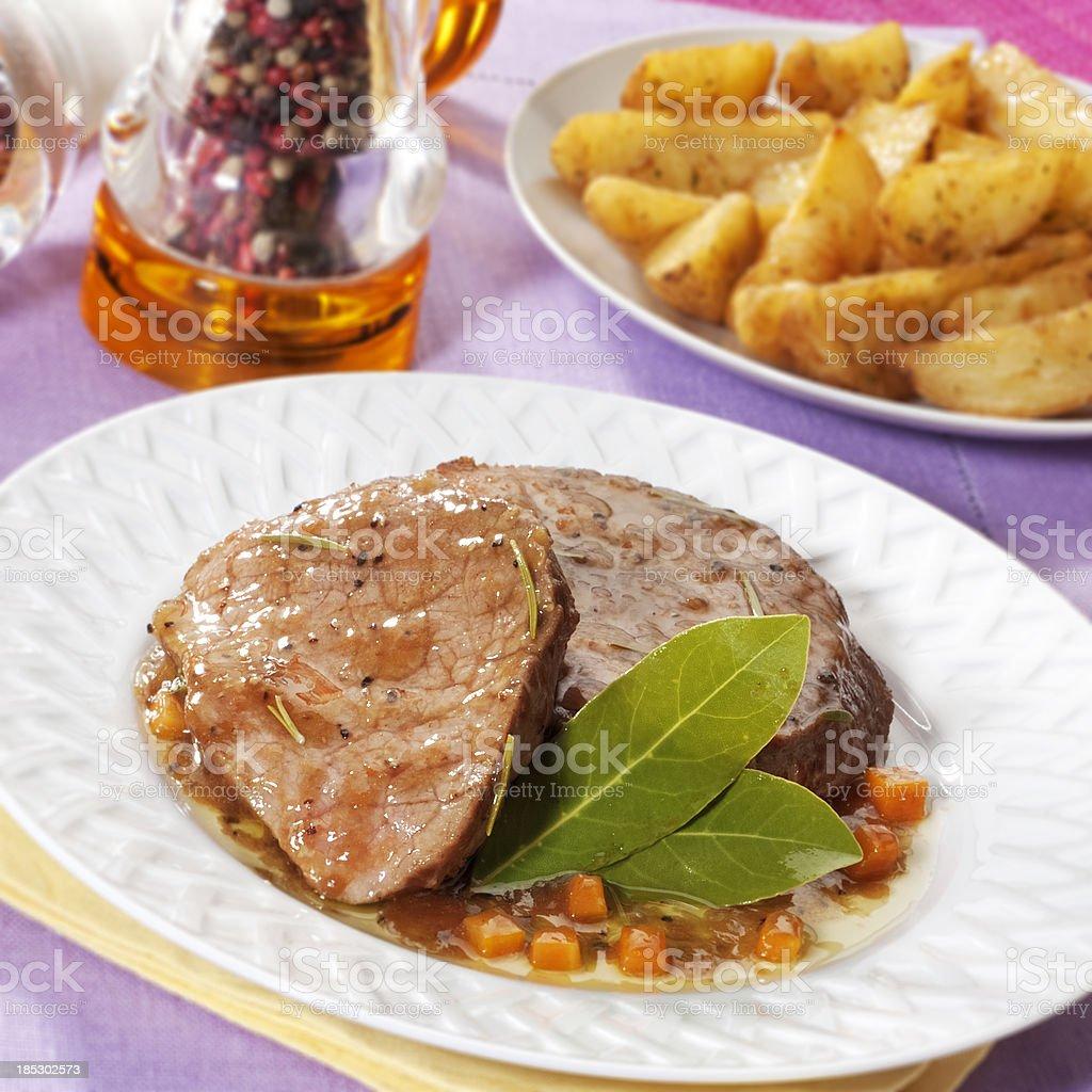 Pot roast dinner royalty-free stock photo
