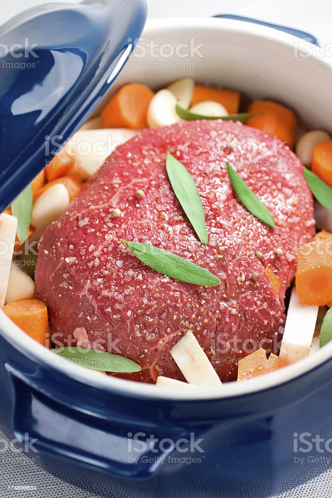 Pot Roast & Root Vegetables stock photo