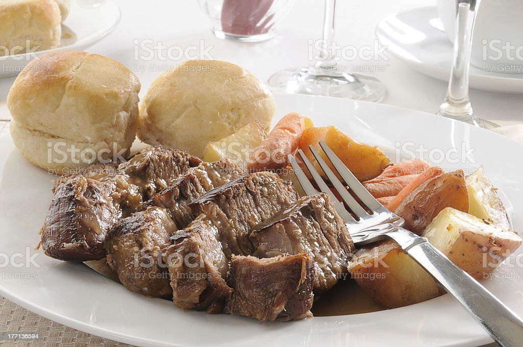 Pot roast with autumn vegetables royalty-free stock photo