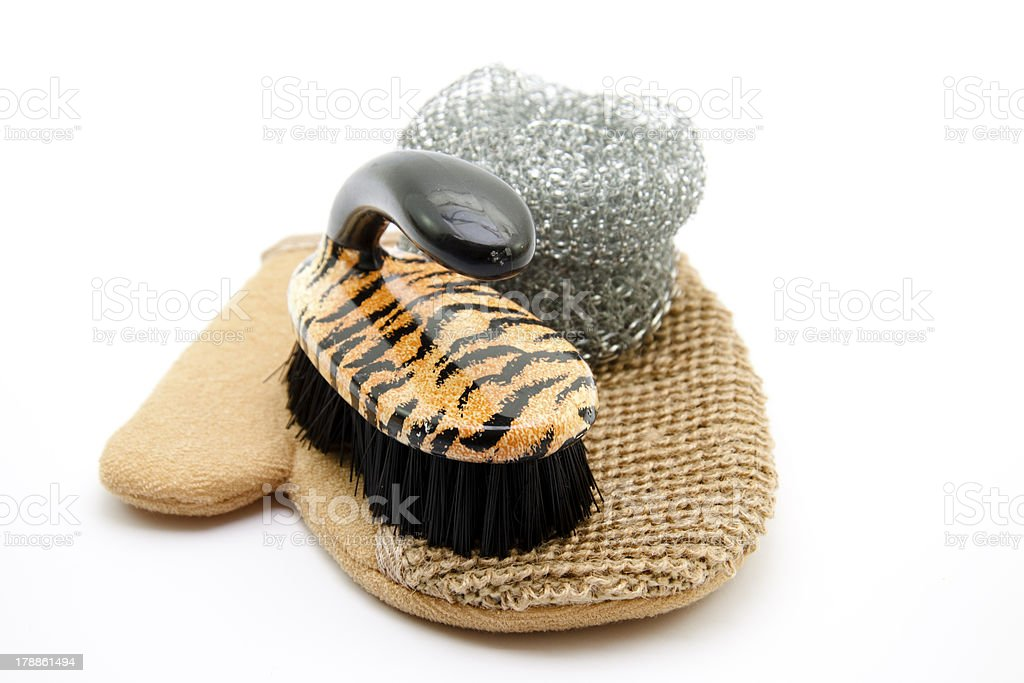 Pot scratch and brush on glove stock photo