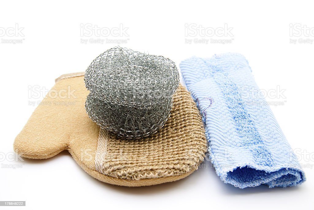 Pot scratch on glove with towel stock photo