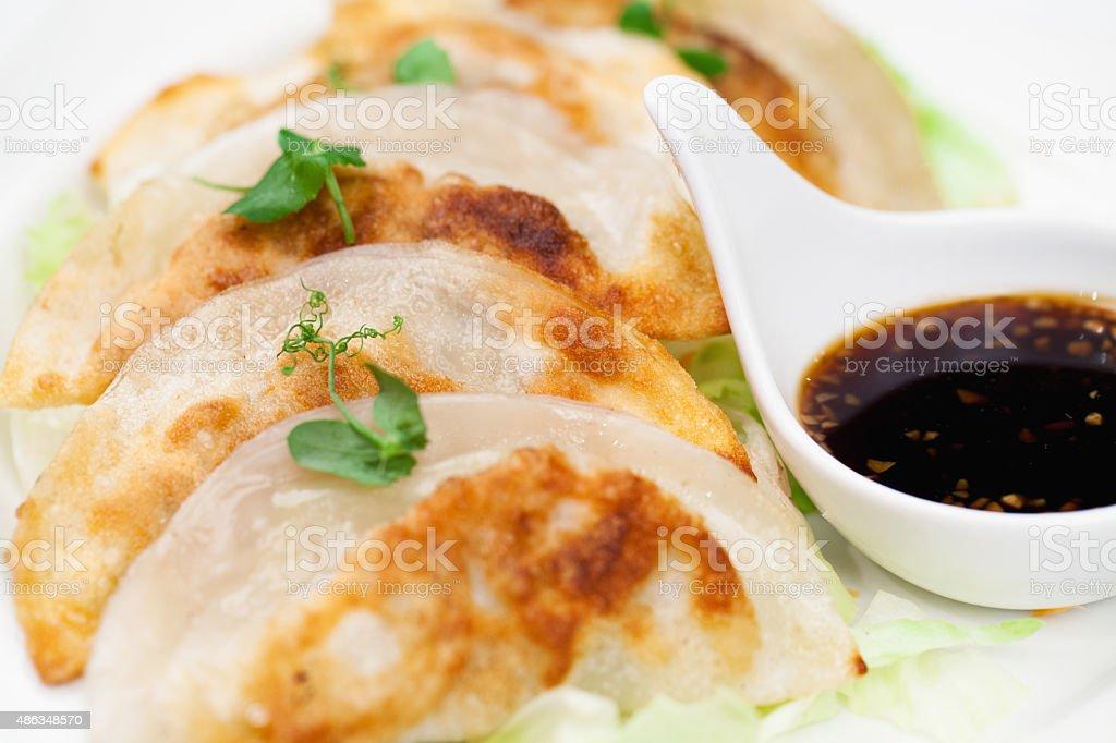 Pot stickers or Jiaozi dish stock photo