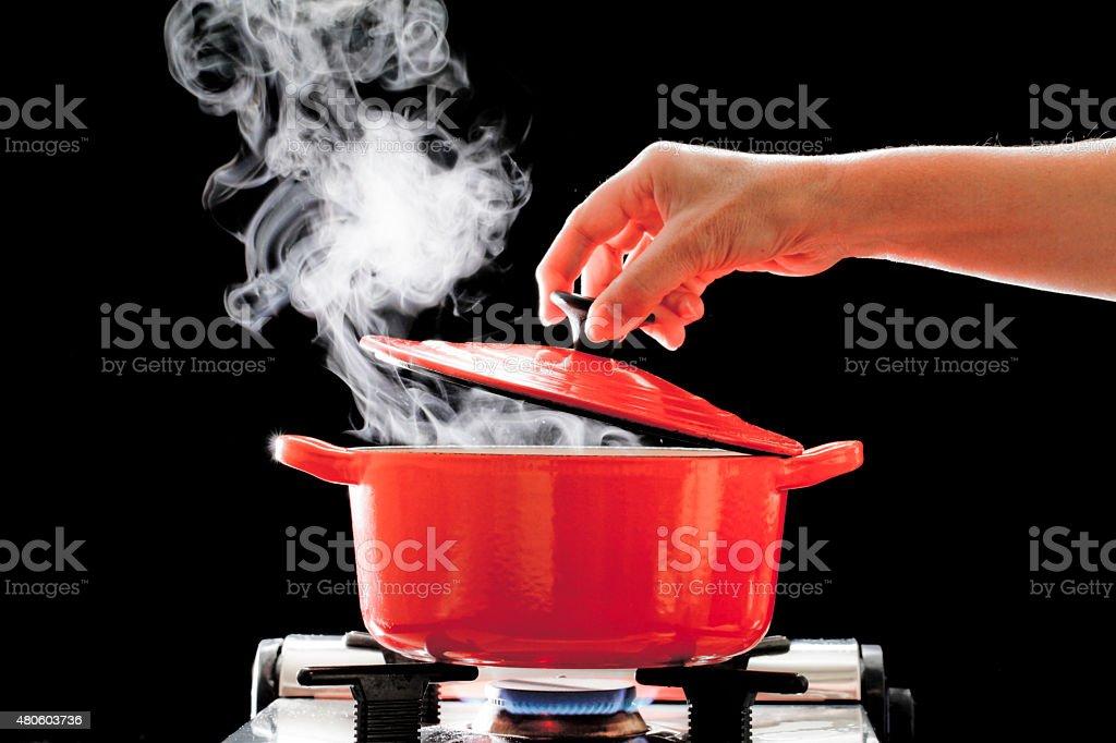 Pot to heat stock photo