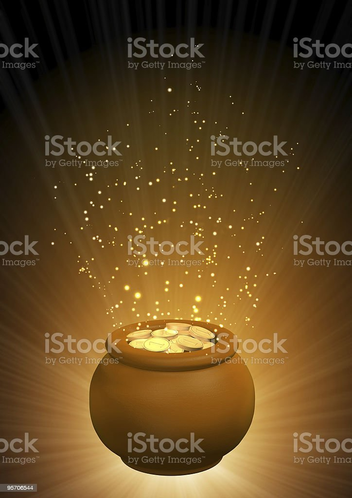 Pot with gold coins stock photo