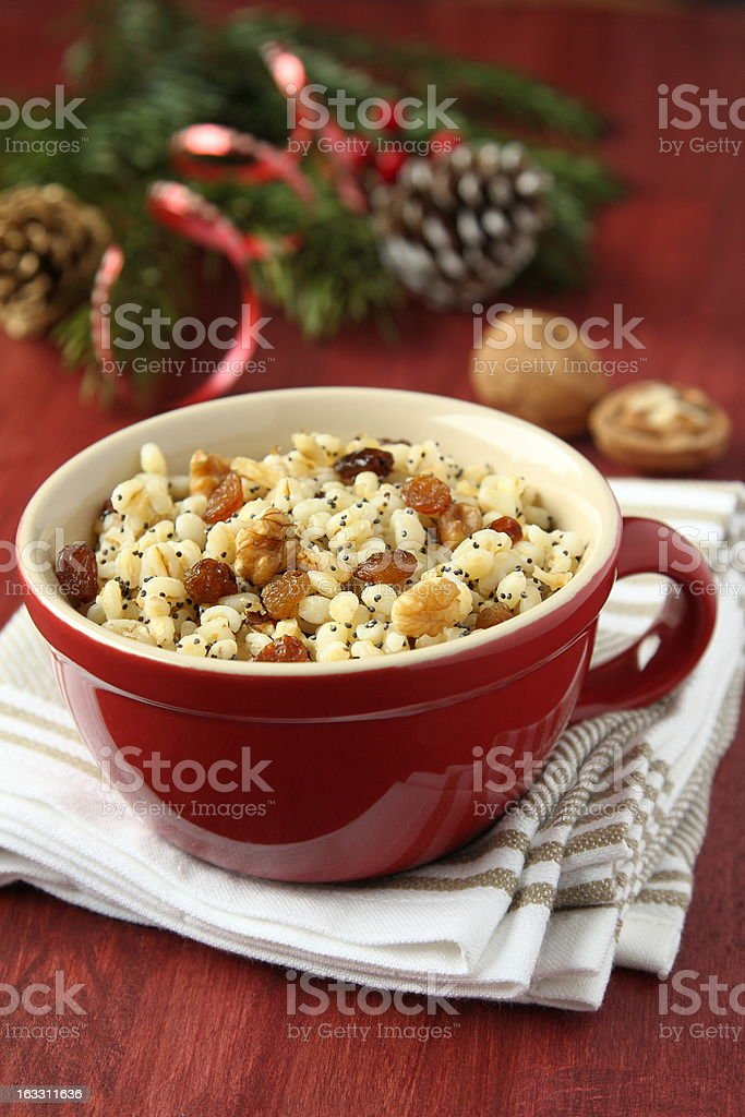 Pot with kutia - traditional Christmas sweet meal royalty-free stock photo