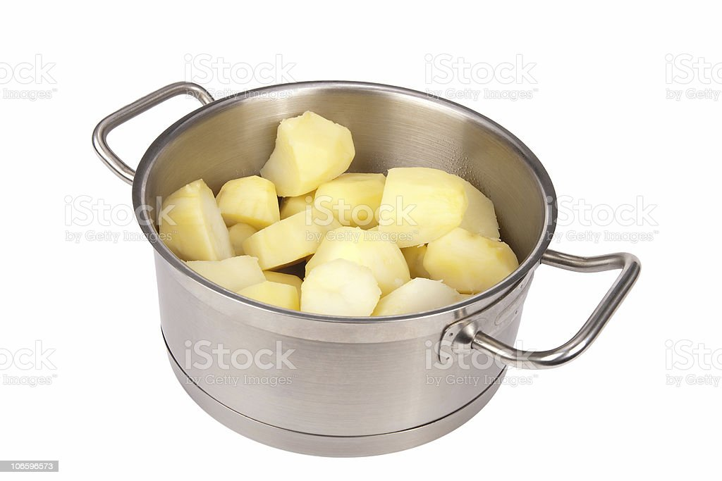 Pot with potatoes royalty-free stock photo
