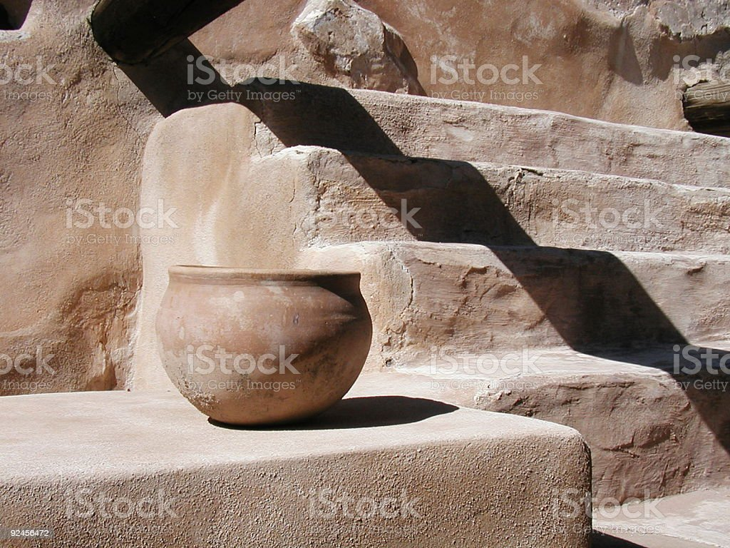 Pot with Shadowed Steps stock photo